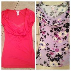 Two very cute Candies tops This is a bundle package. Two cowl neck style  tops.  The coral color is the small the floral one is in extra small Candie's Tops Tees - Short Sleeve