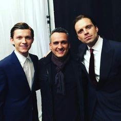 Tom Holland, Joe Russo and Sebastian Stan at the European Premiere of Captain America Civil War April 26, 2016