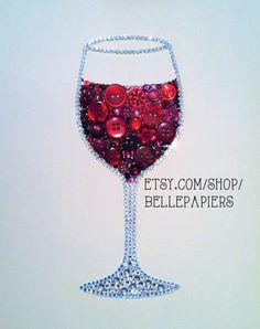 Button Art Wine Glass Decoration Red Wine Art by BellePapiers, $124.00