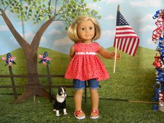 American Girl fit doll clothes - 4th of July doll clothes - 18 inch doll clothes by sewcutejune on etsy.com and ebay.com