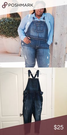 """Torrid Frayed Overalls Torrid plus size Frayed Overalls. Slightly worn. Able to fit a size 20/22. Final Sale  My measurements: Height: 5'6 Waist: 52"""" Bust: 42G Size: 20 torrid Pants"""