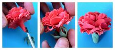 Gum Paste Flowers #4: Carnations (not made on floral wire) - by cakedarla @ CakesDecor.com - cake decorating website