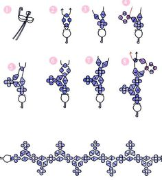 Free pattern for pretty beaded bracelet Esperanza. U need: bicone beads 4mm seed beads 10/0 – 11/0 - See more at: http://beadsmagic.com/?p=2929#more-2929: