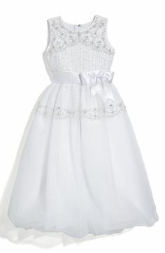 Joan Calabrese for Mon Cheri Beaded Tulle & Satin Ribbon Dress (Little Girls & Big Girls) available at Nordstrom