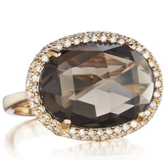 Maroon    Maroon Smoky Quartz Ring in 18kt Rose Gold with Diamonds available at Houston Jewelry!