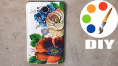 DIY, Zhostovo style, Painting a poppy and a rose on the mobile phone Abstract Painting Easy, Acrylic Painting Techniques, One Stroke Painting, Cell Phone Deals, Flower Texture, Palette Knife Painting, Beginner Painting, Project 365, Poppies