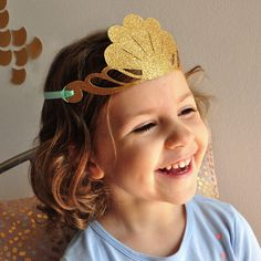 Mermaid Crown. Mermaid Party Favor. Handcrafted in 2-5 Business Days.  Glitter Gold Party Crown. by ConfettiMommaParty on Etsy https://www.etsy.com/listing/526007649/mermaid-crown-mermaid-party-favor