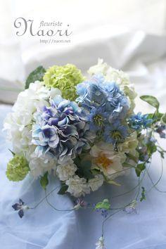 紫陽花とローズ・クレマチスのブーケ ブルー×ホワイト Bouquet White / Hydrangea Rose Clematis / Wedding