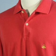 Brooks Brothers 346 Bright Coral Polo Shirt Weathered Golden Fleece Logo Mens M #BrooksBrothers #PoloRugby