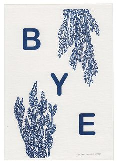BYE Risograph Print in Large Size by SarahMcNeil on Etsy