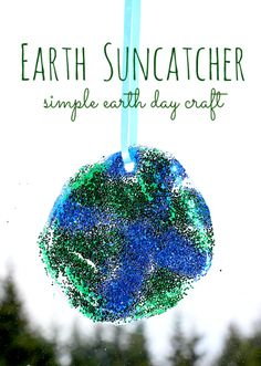 Earth day crafts - this craft couldn't be easier all you really need is glue and glitter.