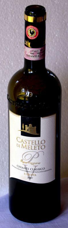 17. Mai 2014  --  Castello di Meleto: Chianti Riserva Classico 2007, Toskana, Italien - Ab und zu lässt man sich verführen. Dieser Wein – ich gebe es zu – ist das Werbegeschenk einer grösseren Weinhandlung der Schweiz, die sich seit 1988 (also seit 25 Jahren) auf diesem alten italienischen Weingut direkt engagiert und da auch viel investiert hat.