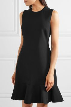 Victoria, Victoria Beckham - Ruffle-trimmed Crepe Mini Dress - Black - UK10