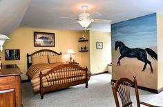 Horse mural in guest bedroom