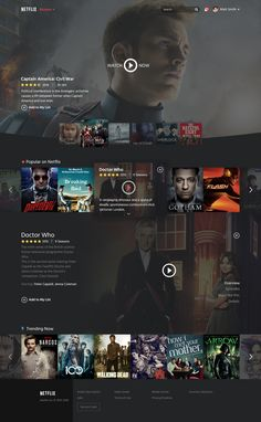 Netflix Restyle – Website by Emiliano Cicero Netflix Website, Movie Website, Website Design Layout, Web Layout, Hansel Y Gretel, Tv App, Ui Web, Interface Design, User Interface