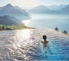 Hotel Villa Honegg - the heated outdoor pool at the Boutique Hotel high above Lake Lucerne, Switzerland