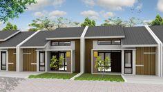 rumah kecil mungil satu lantai #rumah #minimalis #fasad #desain Narrow House Designs, Small House Design, Duplex Plans, Duplex House, House Elevation, Simple House, Home Projects, Bungalow, Townhouse