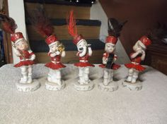5 Vintage porcelain girls marching band Christmas figurines made in Japan