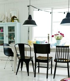 white table black chairs