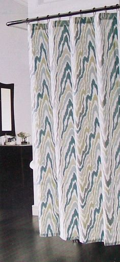 Celine Aqua Blue Teal Green Taupe Gray White Fabric Shower Curtain New
