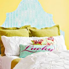 "Paint a ""headboard"" on the wall behind your bed -- an easy way to get the look of a headboard without spending the cash."