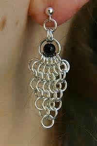 Chain Mail Jewelry - Handmade Earrings - Beaded Cluster Earrings
