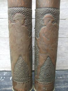 2 American Soldier WWI TRENCH FOLK ART Artillery Shell Vases 1914-1917