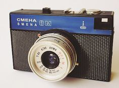 Russian Smena 8m (blue) Frame size: 24/36 Film accepted: 35mmLens: T-43 Focal length: 40mm Diaphragma: 4-16 Focusing: 1m to infinite Adjustable shutter speeds: B, 1/15, 1/30, 1/60, 1/125, 1/250.   Serial: B3Q0280CJAB Made in: Russia