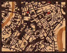 Aplicación para elegir mapas que se cortan en madera.