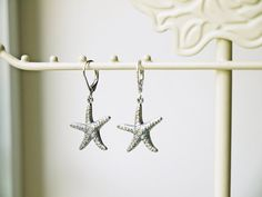 Starfish Earrings Antique Silver Starfish Nautical Marine Beach Summer Dangle Earrings