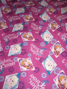 "Disney Frozen Sisters Forever Elsa Anna Purple Pink 1.5 yards (55"" long x 44""w) #SpringsCreative"