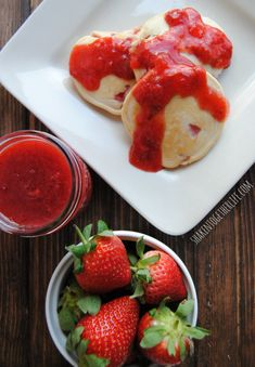Strawberry pancakes with strawberry orange sauce - perfect for breakfast this weekend!