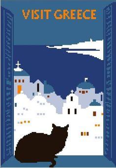 cross stitch pattern  retro poster Visit Greece