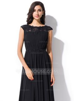 A-Line/Princess Scoop Neck Floor-Length Chiffon Lace Evening Dress With Ruffle Beading Sequins (017051631)
