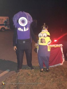 King Bob and Purple Minion Couple Costume