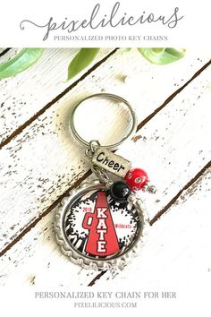 Personalized keychains make a fabulous gift for every cheerleader, Cheer Coach or the entire Cheer Team! Show your school spirit with a custom key ring designed in your school colors. The key chain can be hooked onto a cheer bag, back pack or purse!  The key chain is made from a flattened bottle Cheer Coach Gifts, Cheer Coaches, Cheerleading Gifts, Customized Gifts, Personalized Gifts, Handmade Gifts, Gifts For Friends, Gifts For Kids, Senior Gifts