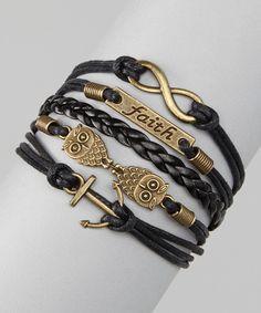 Black 'Faith' Cord Bracelet