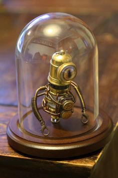 Little Steampunk Robot Sculpture with Glass Dome Display