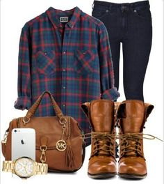 Plaid shirt matched with skinny jeans and military style boots