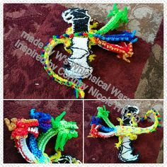 Three headed dragon. Rainbow loom 3D dragon. All the techniques I learned from Courtney Nicole at HTLYD on YouTube. The design of this dragon is my own.
