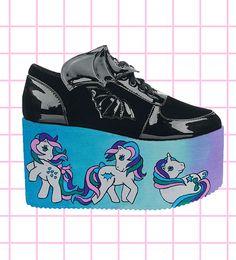 Hand painted black my little pony inspired  platform flatform