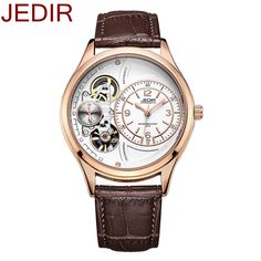 31.44$  Know more  - new2017 Jedir mechanical watch men Chronograph Sport Watches Skeleton Dial with Date Counters Business Rose Gold Unique Watches