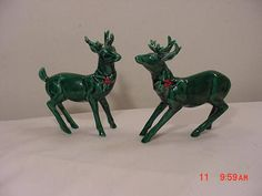 2 Vintage Lefton's Green Christmas Reindeer With Red Holly