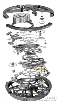 Exploded view of the Roger Dubuis Excalibur Automatic Skeleton movement