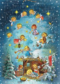 Vintage Kruger Christmas Nativity Advent Calendar Paper & Glitter 1960's #Germany