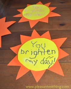 Spread some sunshine on a rainy day with construction paper suns! This is an act of kindness and works on cutting and writing skills.