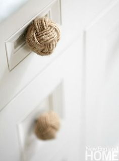 Rope Monkey Fist Cabinet Knobs in a Bathroom