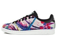 Womens Adidas Originals Stan Smith Shoes Palm Trees S81229 - Pink Purple Blue Black