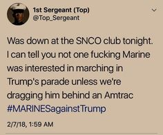 """Not one Marine was interested in marching in Trump's parade, """"unless we're dragging him behind an Amtrac."""""""
