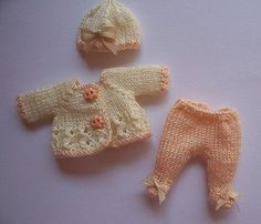 Handmade knitted outfit for miniature baby doll #RB226